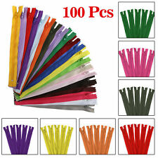 100Pcs 9 Inch Nylon Coil Zippers for Sewing Crafts Assorted Colors Ready Stock