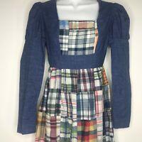 Vtg 60s Young Edwardian Arpeja 5 Denim Plaid Patchwork Maxi Dress Mutton Sleeves