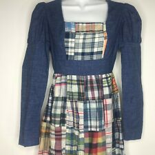 Vtg 60s Young Edwardian Arpeja 5 Denim Plaid Patchwork Maxi Dress Mutton Sleeves