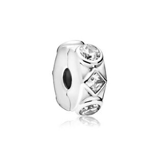 CLEAR JEWELLED Shapes European Clip Charm & Gift Pouch - Silver Tone - Spacer