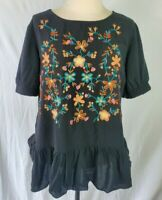 Jodifl Womens Size Small Black Embroidered Short Sleeve Peplum Boho Shirt Top K8