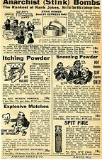 1929 small Print Ad of Anarchist Stink Bombs Itching & Sneezing Powder Spit Fire