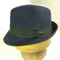 J CREW Women's Classic Stingy Brim Navy Felt FEDORA Black Hat Band Ribbon S/M