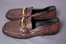 Stunning COLE HAAN men's brown genuine Crocodile loafers shoes sz 8 D