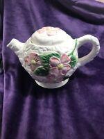 "Ceramic Ivory W/ Pink Dogwood Flower Teapot 5"" ADORABLE"