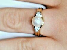 Yellow Gold pearl diamond ring 1083