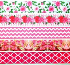 """Grosgrain Ribbon 1 1/2"""" Mixed Lot 5 yd Flowers Peony Floral Roses Printed"""