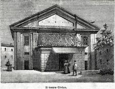 Crema: il Teatro Civico. Cremona. Lombardia. Stampa Antica + Passepartout. 1896