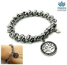 Bracciale donna elastico in acciaio braccialetto albero della vita argento da
