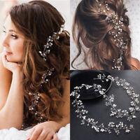 Rhinestone Crystal Wedding Bridal Headband Hair Vine Hairpiece with Ribbon Belt