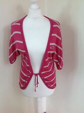 Hollister Pink White Striped Cardigan Batwing UK12-14 Skinny knit Cotton (P)