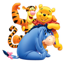 """Pooh, Tigger, Eeyore Iron On Transfer 5"""" x 5"""" for LIGHT Colored Fabric"""