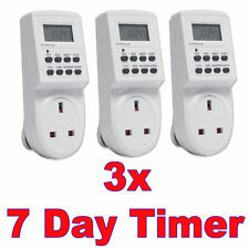 7 jours lcd digital 3 xpcelectronic plug-in program 12/24 heure timer switch socket