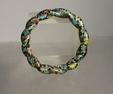 Antique Vintage Chinese Japanese CLoisonne Twisted Bangle Bracelet Floral