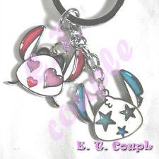 2PC stitch angel star adorable couple love heart cellphone strap Disney keychain