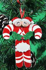 Personalizado De Árbol De Navidad Decoración Ornamento Candy Cane familia de 2
