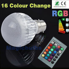 Dimmable B22 5W LED Light Bulbs RGB Lamp 16 Colour Changing +Free Remote Control