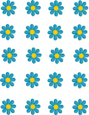 Bright Blue Daisies Waterslide Nail Decals