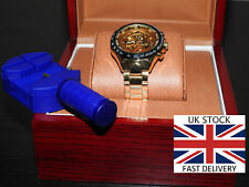 🇬🇧 Gold Skeleton Automatic Watch Stunning Stainless Strap Luxury Box Tools🇬🇧