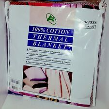 100 percent cotton Thermal blanket Twin/ Full snag free; color - squares
