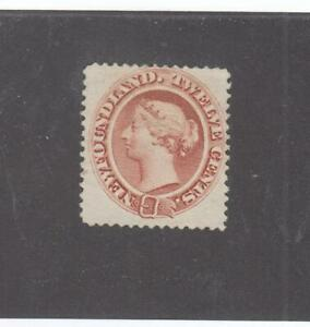 NEWFOUNDLAND # 28 VF-MNG 12cts PALE RED BROWN Q/VICTORIA  CAT VALUE $80