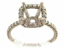 0.76 CT Natural diamond halo semi mount ring/setting only VS2/F 14K white gold