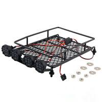 Metal Roof Rack Luggage Bracket + 4LED Lights For 1/10 RC Car Rock Crawler SCX10