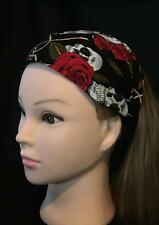 Day of the Dead Skulls Roses Hair Head Band Bandana Ladies Biker  feeanddave