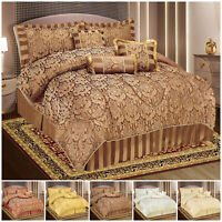 Luxury 7 Piece Jacquard Quilted Bedspread Throw Comforter Bedding Set & Pillows