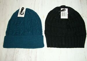 Womens Set of 2 Cable Knit Beanie Caps Hats One Size Black & Blue *NEW With Tags