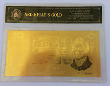 NED KELLY'S GOLD $10.00 OLD NOTE 24K 999 GOLD FOIL BANK NOTE C.O.A. PACK