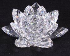 """1989 Swarovski Crystal 7600 125 000 / 119 747 Lg Water Lily Candleholder 6.5"""" V2"""