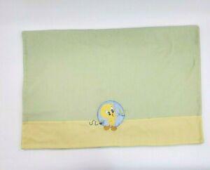Tweety Bird Looney Tunes Baby Blanket Green Yellow Fleece Soft Boy Girl B74