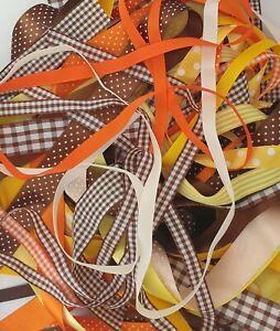 Orange Yelllow Brown Shade Ribbon Bundles Berisfords  Mix of 10 x 1m Lengths