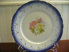 "Antique H.R. Wyllie China Pink & White Rose Motif 9.25"" Plate"