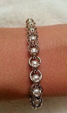 Handmade pearl silver chain maille bracelet. NWOT custom sizes