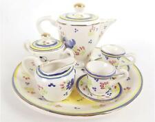 Ten piece Quimper Ceramic Doll Tea Set Mint Condition