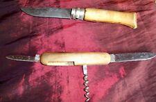 2 coltellini - OPINEL N°7  La main couronnée / Svizzero con cavatappi vintage