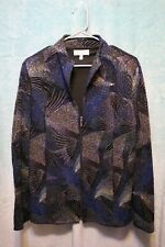 ⚜Woman's Printed Zip down Jacket by Drapers & Damons size M~black/teal/silver
