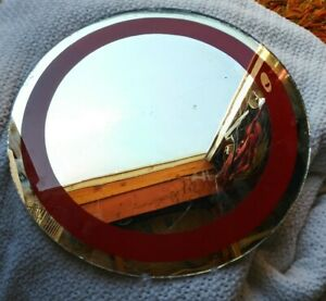 """Vintage Antique  12 1/2"""" Round Plateau Red Stripe Wall VANITY Tray MIRROR"""