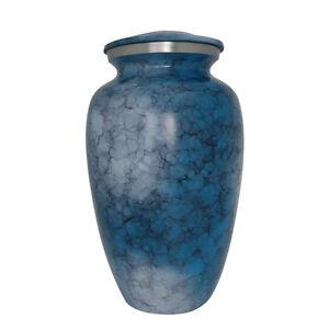 Iris Large Blue Aluminium Memorial Urns for Cremation Ashes