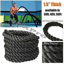 "Battle Rope (Black) Polydac Undulation Rope Exercise Training 1.5""Thick - Nexpro"