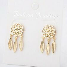 Bohemian Dream Catcher Silver Gold Feather Earrings Feathers Dangle Drop Earring