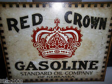 RED CROWN GASOLINE USA, 40x30cm METAL WALL SIGN/ PETROL, GAS, DINER/GARAGE/DEN