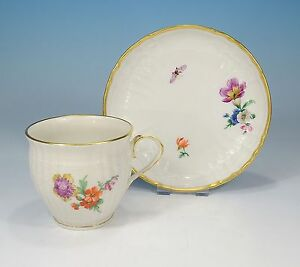 """KPM """"Rocaille Decor 36"""" Coffee Cup And Saucer First Quality"""