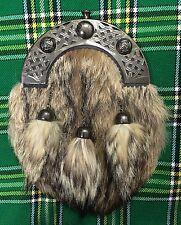 NUOVO Abito Completo Kilt lo Sporran pelliccia di volpe Celtic Cantle Antico/Kilt Scozzese Sporran