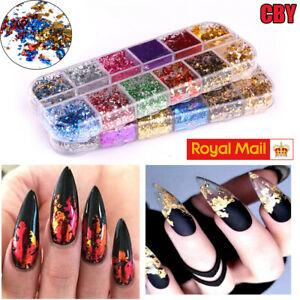 Nail Art Foil Leaf Gold Silver Flakes Chunky Glitter Body Manicure Makeup Xmas