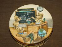 "VINTAGE 6 1/2"" ACROSS BEAR SCHOOL TEACHER   TIN CAN *EMPTY*"