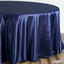 BalsaCircle 108-Inch Navy Blue Round Satin Tablecloth Table Cover Linens for