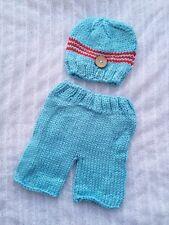 Newborn Baby Boy light blue n white Beanie and Pants Crochet Set Photo Props
